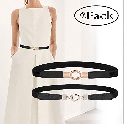 "Fashion Elastics Waist Belt Vintage Clothing Accessories for Women Dresses Skinny Web Belt 2 Pack, Black & White, Gold & Silver Metal Buckle, Size 26""-32""(US 0-12)"