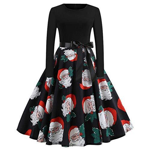 HGWXX7 Women's Christmas Vintage Print Long Sleeve Hepburn Dress Evening Party Swing Dress(S,Black-2) ()