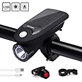 Toplife Solar Bike Light Set, USB Rechargeable Waterproof LED Bicycle Lights Front Rear, Headlight Taillight Combo Outdoor Cycling Safety Bike Light Mount Holder
