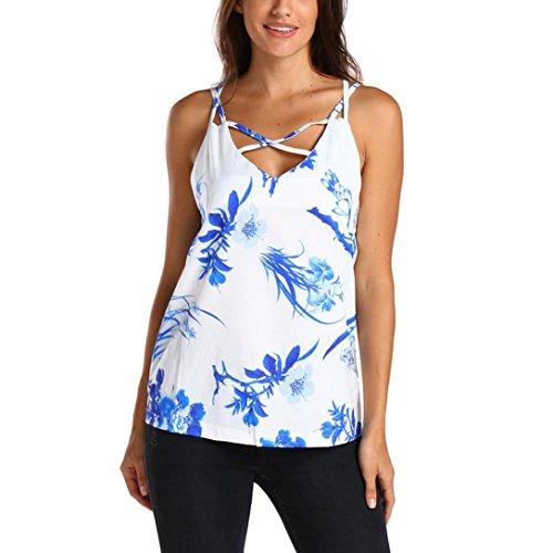 Sexyville Dbardeur Femmes Mode V-Cou Traverser Creux Sans Manches Gilet Et T-Shirt Florale Impression Chemisier Blanc