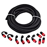 EVIL ENERGY 16Ft 4AN AN4 Nylon Braided CPE 1/4'' Fuel Oil Hose Line + 10pcs AN4 Hose Fitting Kit Red&Black