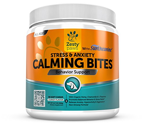 Calming Soft Chews for Dogs - Anxiety Composure Aid Treats With Suntheanine - Organic Hemp Oil & Valerian Root + L Tryptophan for Dog Stress Relief - Great for Storms + Barking & Chewing - 90 Count (Soft Chew Tablets)