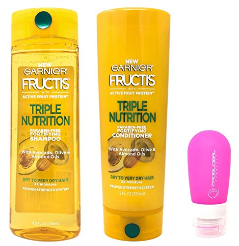 Garnier Fructis Triple Nutrition Shampoo (12.5 oz) & Conditioner (12 oz) Bundle with Silicone Travel Bottle (Hair Lotion 12 Bottle Oz)