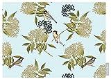 Izabela Peters Designer Waterproof Garden Outdoor Tablecloth - Bird on Elderflower - Duck Egg - Lakeland Collection - Designed Printed & Handmade in the UK (Choice of Lengths)