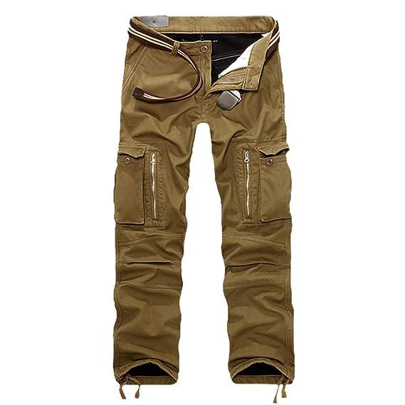 meilleurs prix sélection premium prix raisonnable Msliy Homme Pantalon Cargo de Travail Style Militaire Loisir Travailler en  Automne Hiver Chaud Epaisse en Coton