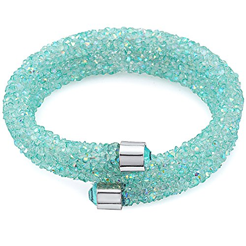 Silver & Post NEW! Turquoise Bangle Wrap Bracelet Design with Crystals from Swarovski, Gift Box Included - Swarovski Turquoise Bracelets