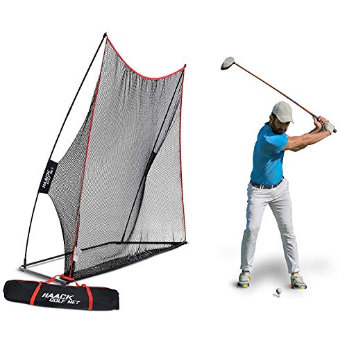 Rukket 10x7ft Haack Golf Net | Practice Driving Indoor and Outdoor | Golfing at Home Swing Training Aids | By SEC Coach Chris (Indoor Golf Simulators)