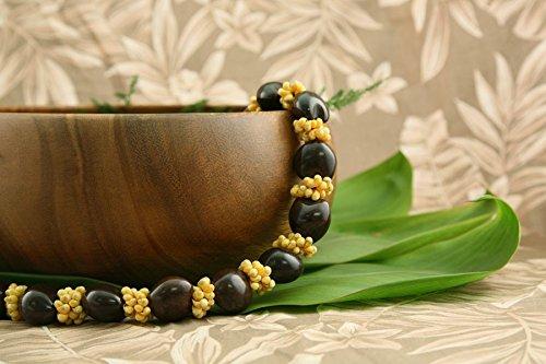Hawaiian Kukui Nut and Mongo Shell Lei Necklace- with Brown Kukui Nuts and Yellow Mongo Shells