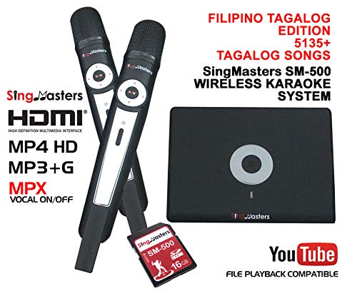 SingMasters Magic Sing FILIPINO Karaoke Player,5135 Philippines Filipino Tagalog Pinoy Song,12985 English songs Dual wireless Microphones,YouTube Compatible,HDMI,Song recording,TAGALOG Karaoke Machine (Best Player For Vob Files)