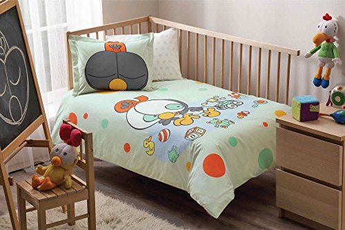 100% Organic Cotton Soft and Healthy Baby Crib Bed Duvet Cover Set 4 Pieces, Sizinkiler Olive Baby Bedding Set by TAC