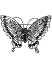 Antique Inspire Grey Silvery Tone Crystal Rhinestones Butterfly Pin Brooch