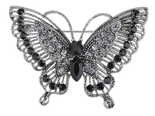 - Alilang Antique Inspire Grey Silvery Tone Crystal Rhinestones Butterfly Pin Brooch