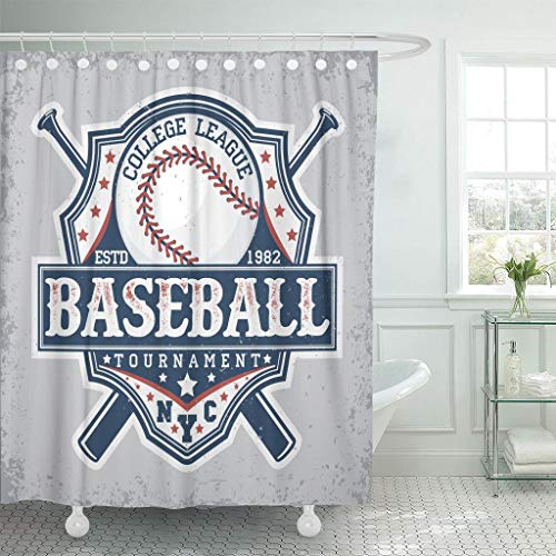 Emvency Fabric Shower Curtain with Hooks Soccer Creative Vintage Graphic Design Grange Stamp Baseball Emblem Sports Jersey Team 72