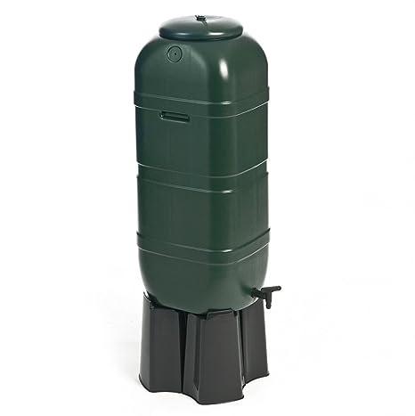 Aljibe, tonel de agua de 100 litros en color verde con soporte, llenado automático