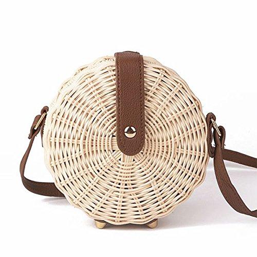 Sac avec en bandouliere de de Sac rotin polyester la femmes tricotes Sacs vintages a a de les de de plage a paille des Boheme pour style main WOVELOT 16cm femmes main Bali cercle t0wqBpw