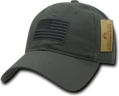 (RapDom Tonal Flag Polo Style USA Adult Cap [Adjustable - Olive Drab])