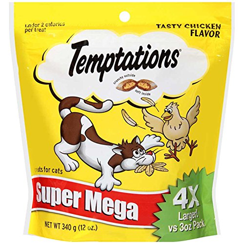 TEMPTATIONS Classic Treats for Cats Tasty Chicken Flavor 12 Ounces; With Our Mouthwatering Menu We Have a Flavor For Every Feline