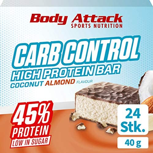 Body Attack Carb Control, Coconut Almond, 24 x 40g, Proteinriegel ohne Zuckerzusatz, Low Carb – High Protein,...