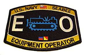 U.S. NAVY SEABEE EQUIPMENT OPERATOR EO PATCH - Color - Veteran Owned Business. by MG