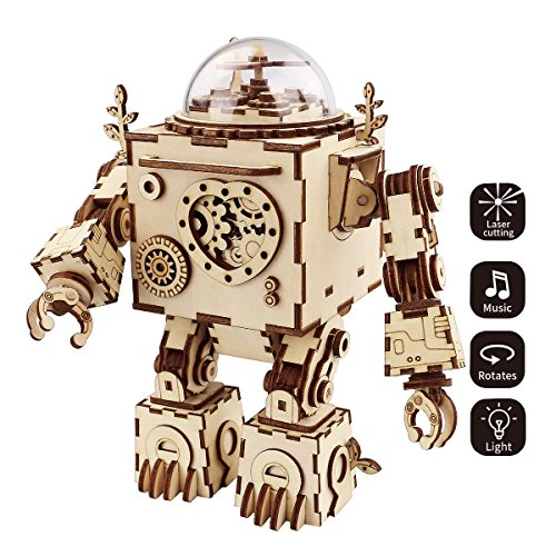 ROKR 3D Wooden Puzzle Music Box Machinarium Light-Laser Cut Craft Kit-DIY Robot Toy Figures for Boys and Girls-Gifts for Christmas/Birthday/Valentine's Day