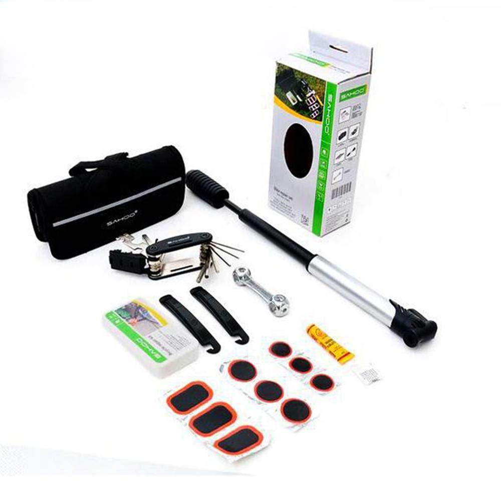 Umiwe Bicycle Repair Kit with Saddle Bag Mini Bike Bump 16 In1 Bicycle Multi Tool Glue Puncture Repair Kit 2 Tire Levers Wrench