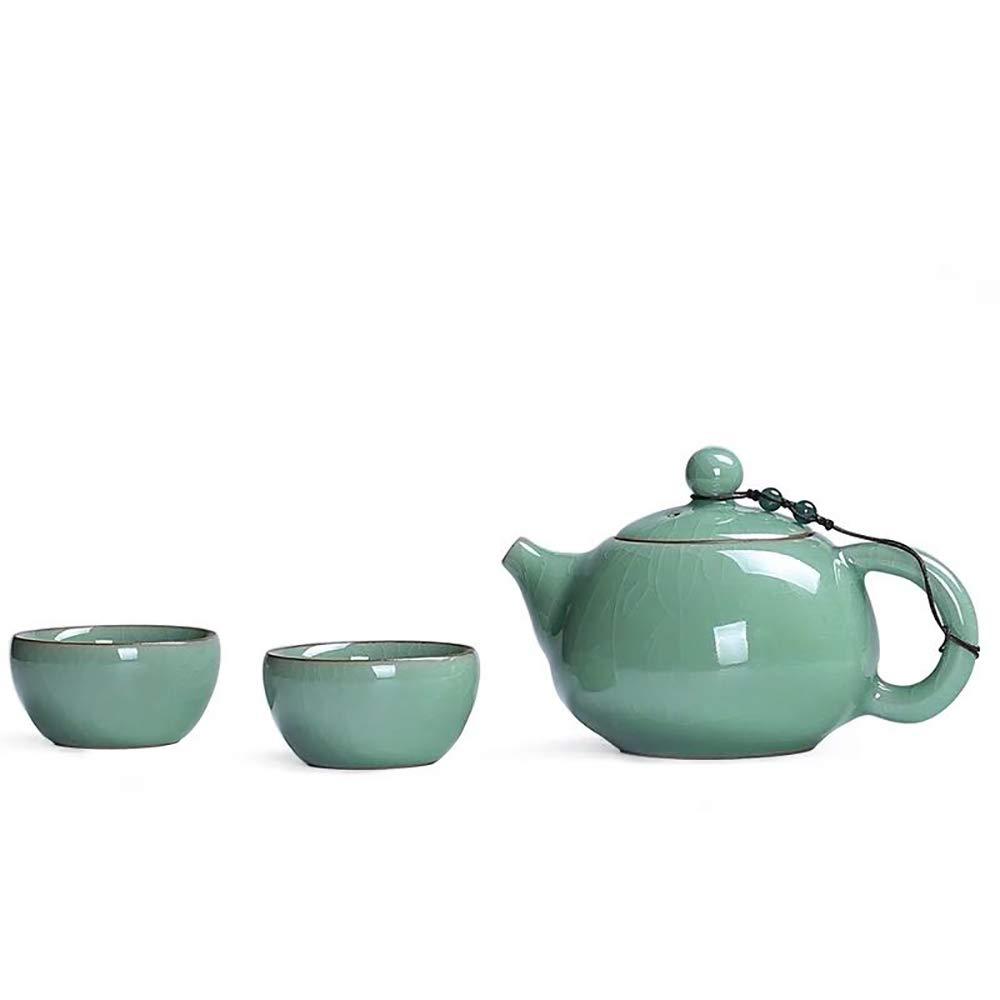 Never King Longquan Cracked Ice Pattern Tea Set Traditional Chinese Kungfu Tea Set- Porcelain Teapot & Teacups (Plum Green)