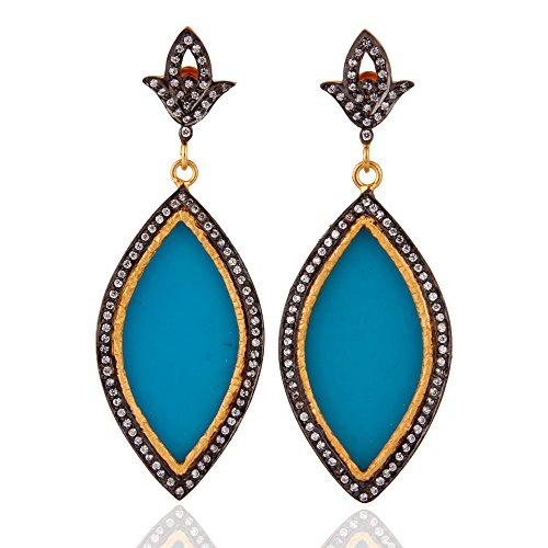 Vintage Creations Vintage Earrings (18K Gold Plated Marquise Shape Blue Bakelite & CZ Vintage Dangle Earrings)