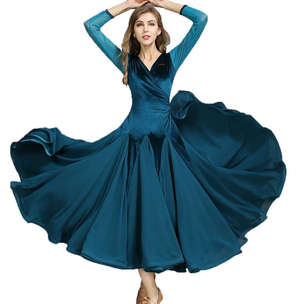 大量入荷 大人の女の子現代のワルツタンゴ滑らかな社交ダンスのドレス標準的な民族衣装V襟長袖ベルベット社交サルサダンスパフォーマンスドレス B00D4NB93C M M|ブルー ブルー ブルー B00D4NB93C M, Garden75:c94fd12a --- a0267596.xsph.ru