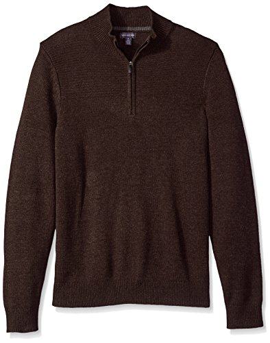 Van Heusen Men's 1/4-Zip Solid Sweater, Cocoa Heather, - Van Zipper