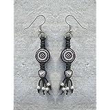 Black and Silver Circles and Hearts Macrame Hemp Earrings