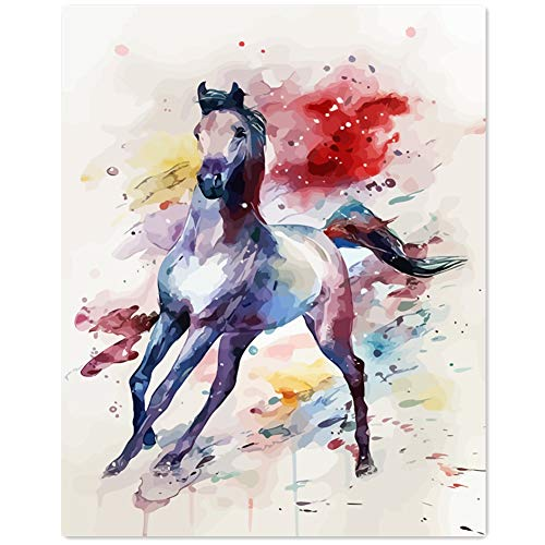 TianMai Version 3.0 HD Paint by Number Kits for Adults PBN Kit Paintworks Digital DIY Oil Painting Canvas Kits for Children Kids Beginner White Christmas Decorations Gifts - Horse (N9, No Frame) (Christmas Draft Horse)