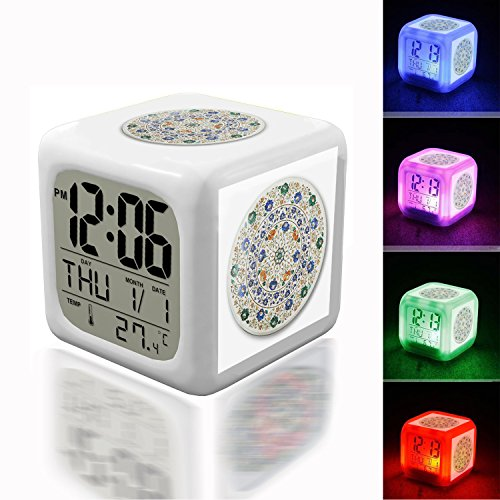 Pietra Accents - Wake Up Alarm Thermometer Night Glowing Cube 7 Colors Clock LED for Bedroom&Table,School Desk Customize- 153.PIETRA DURA - Agra - India