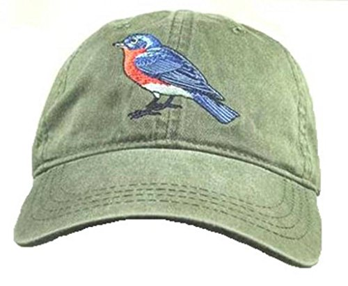 Eastern Bluebird Embroidered Cotton Cap Green