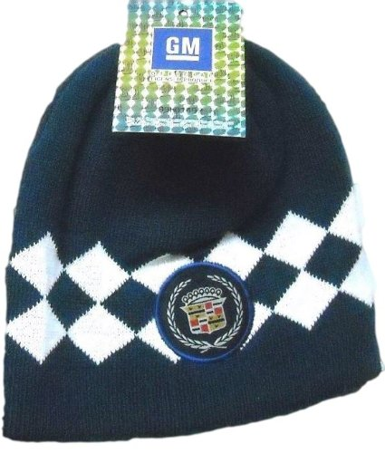 GM Goodwrench Cadillac Argyle Style Knit Beanie Hat (Navy...