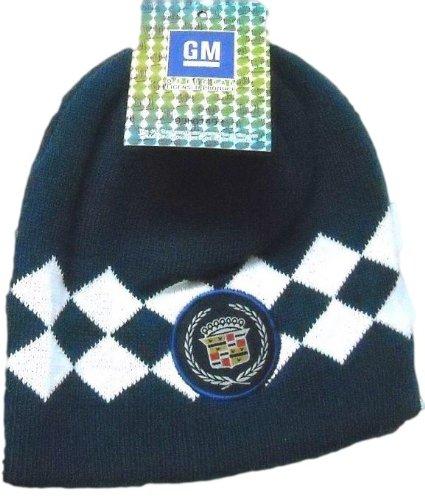 Cadillac Argyle Style Knit Beanie Hat (Navy Blue)