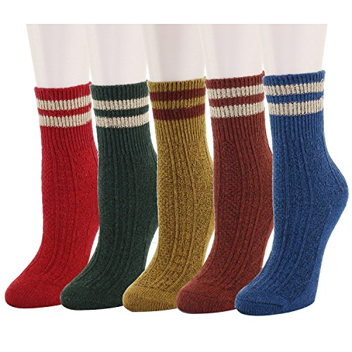(Women's Soft Warm Thick Knit Wool Cozy Crew Socks 5 Pack Colorful Casual Fall Winter)