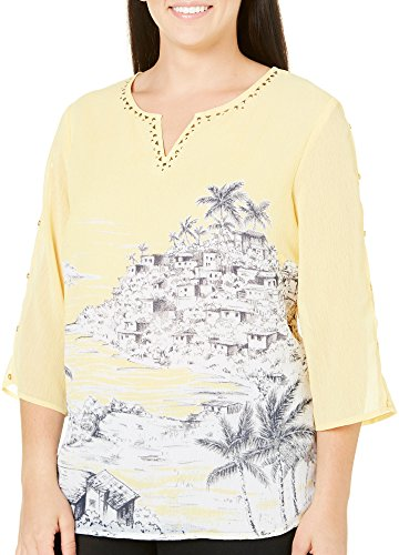 Alfred Dunner Women's Plus Size Scenic Print Blouse Cold Sholder 3/4 Slv Tie Neck, Yellow, 24W
