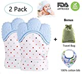 SYITCUN Newborn Baby Teething Mitten for Babies Self-Soothing Pain Relief Teething Glove BPA Free Safe Food Grade Silicone Teether for 3-18 Months with Travel Bag & Bib Prevent Scratches