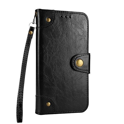 Galaxy S6 Case, BONROY Premium Soft PU Leather Crystal Bling Wallet Case Pretty Girl Pattern Design Back Case Cover with [Kickstand] Stand Function Card Holder and ID Slot Slim Flip Protective Skin Co Retro black