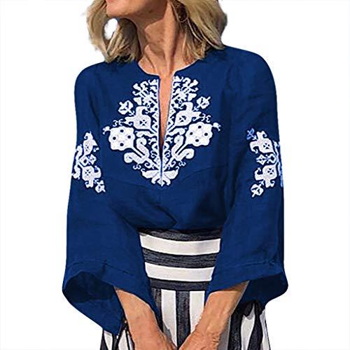 LIM&Shop  Women Plus Size Summer Tunic Top V-Neck Cotton Linen Shirt Casual T-Shirt Vintage Retro Print Tee Loose Blue -