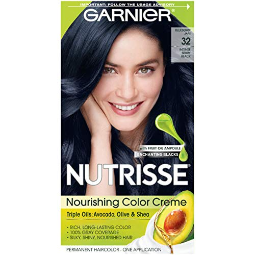 - Garnier Hair Color Nutrisse Nourishing Hair Color Creme, Blueberry Jam 32, Intense Berry Black