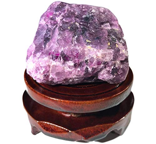Tesh Care Premium Crystal and Gemstones Specimen Collections (Purple Fluorite, 0.5-1 lb) with a rotatable Wooden Base. Healing, Meditation, Reiki, Chakra, Home Decor]()