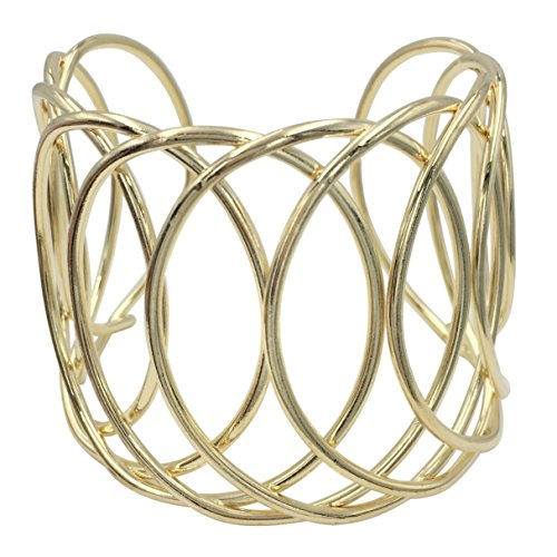 - Gypsy Jewels Looped Wire Open Circles Wide Cuff Bangle Bracelet (Gold Tone)