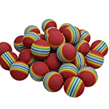 Awakingdemi 50 Pack EVA Foam Golf Balls Golf Golfer Swing Training Aids Indoor Practice Rainbow Balls or Cat Toy