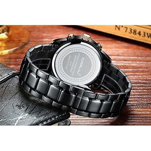 CRRJU Brand Men's Business Casual Chronograph Quartz Waterproof Wristwatch Black Stainless Steel Strap