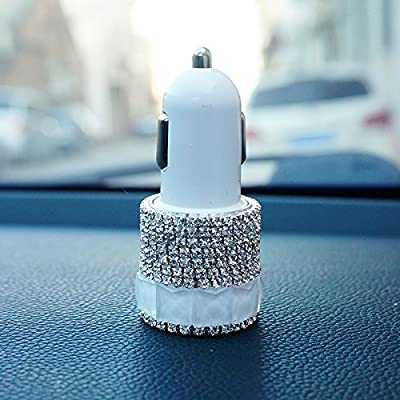 Besplore Bling Bling Diamond and Crystal Dual USB Car charger for Smartphones Mobile Phones iPhone,iPad,X 8 7 6S 6 Plus, 5 SE 5S 5 5C, Galaxy S8 S7 Edge
