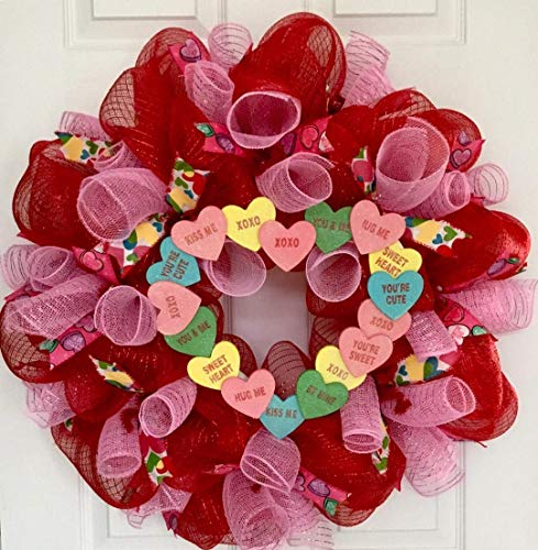 Valentines Conversation Heart Candy Wreath Handmade Deco Mesh -