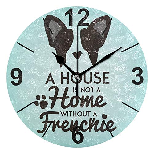 ALAZA Vintage French Bulldog Round Acrylic Wall Clock, Silent Non Ticking Oil Painting Home Office School Decorative Clock Art