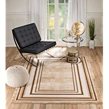 Summit #71 VENICE BEIGE BORDER Area Rug Modern Abstract Rug Many Sizes Available 2x3 2x7 4x6 5x8 8x10 (2X3 ACTUAL IS 22INCH X 35 INCH door mat size)