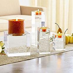 Amazing Home Huge Crystal Pillar Candle Holders 4&